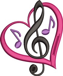 Music Heart embroidery design