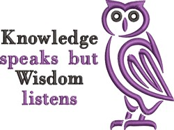 Knowledge Speaks embroidery design