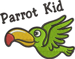 Parrot Kid embroidery design