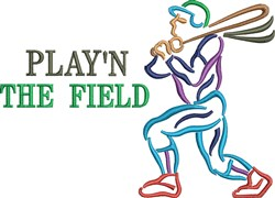 Baseball Hitter Playing The Field embroidery design