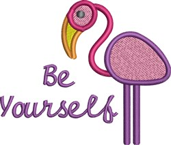 Be Yourself Flamingo embroidery design