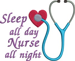 Nurse All Night embroidery design