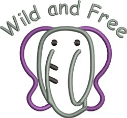 Wild And Free Elephant embroidery design
