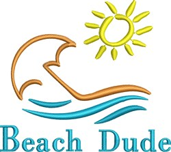 Beach Dude embroidery design
