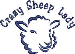 Crazy Sheep Lady embroidery design