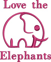 Love The Elephants embroidery design
