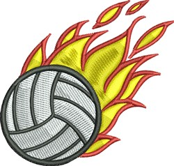 Flaming Volleyball embroidery design