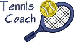 Tennis Coach embroidery design