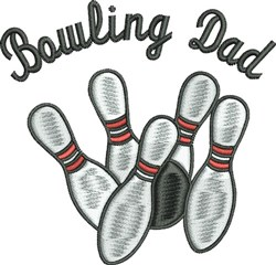 Bowling Dad embroidery design
