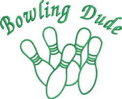 Bowling Dude embroidery design