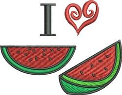 I Love Watermelon embroidery design