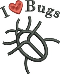 I Love Bugs embroidery design