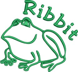 Frog Ribbit embroidery design