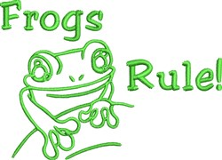 Frogs Rule embroidery design
