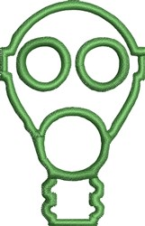 Gas Mask Outline embroidery design