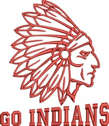 Go Indians embroidery design