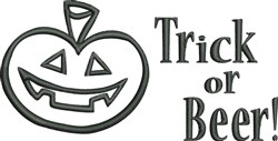 Trick Or Beer embroidery design