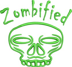 Zombified Skull embroidery design