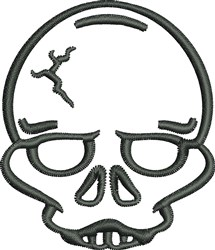 Zombie Skull Outline embroidery design