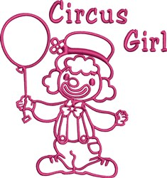 Clown with Balloon Outline embroidery design