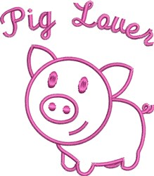 Cute Pig Outline embroidery design