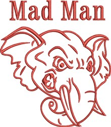 Mad Elephant Outline embroidery design