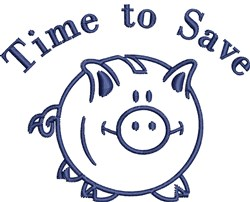 Piggy Bank Outline embroidery design