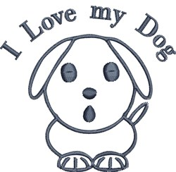 Puppy Dog Outline embroidery design