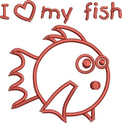 Round Fish Outline embroidery design