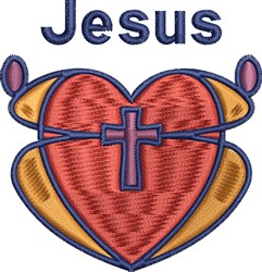 Jesus Heart Cross embroidery design