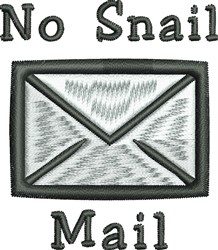 No Snail Mail embroidery design