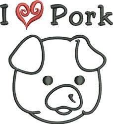 Love Pork embroidery design