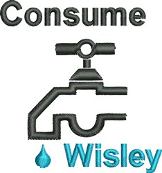 Consume Wisely embroidery design