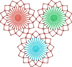 3 Starbursts embroidery design