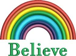 Believe Rainbow embroidery design