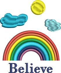 Rainbow Believe embroidery design