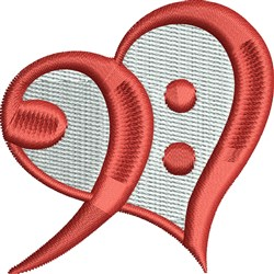 Bass Clef Heart embroidery design