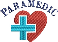 Paramedic Heart & Cross embroidery design