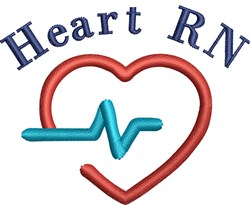 RN Heart Beat embroidery design