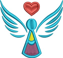 Angel and Heart embroidery design