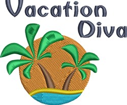 Vacation Diva embroidery design