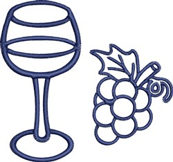 Wine Glass Outline embroidery design