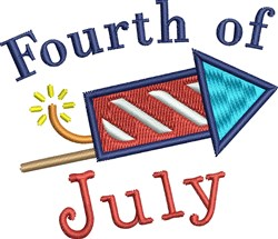 Fourth Of July Rocket embroidery design