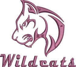 Purple Wildcat Head embroidery design