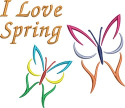 I Love Spring Butterflies embroidery design