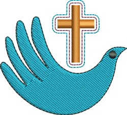 Cross And Blue Dove embroidery design