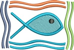 Fish In Rectangle embroidery design