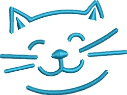 Happy Cat Head embroidery design