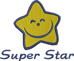 Happy Super Star embroidery design