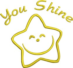 You Shine Star Outline embroidery design